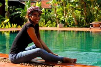 swimming pool sit smile